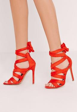 Ankle Lace Up Heel Red