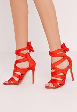 Sandales à talon rouges à nouer