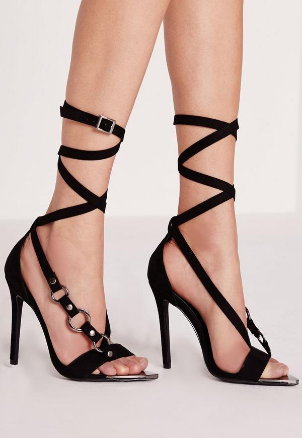 Wrap Strap Trim Detail Sandal Black