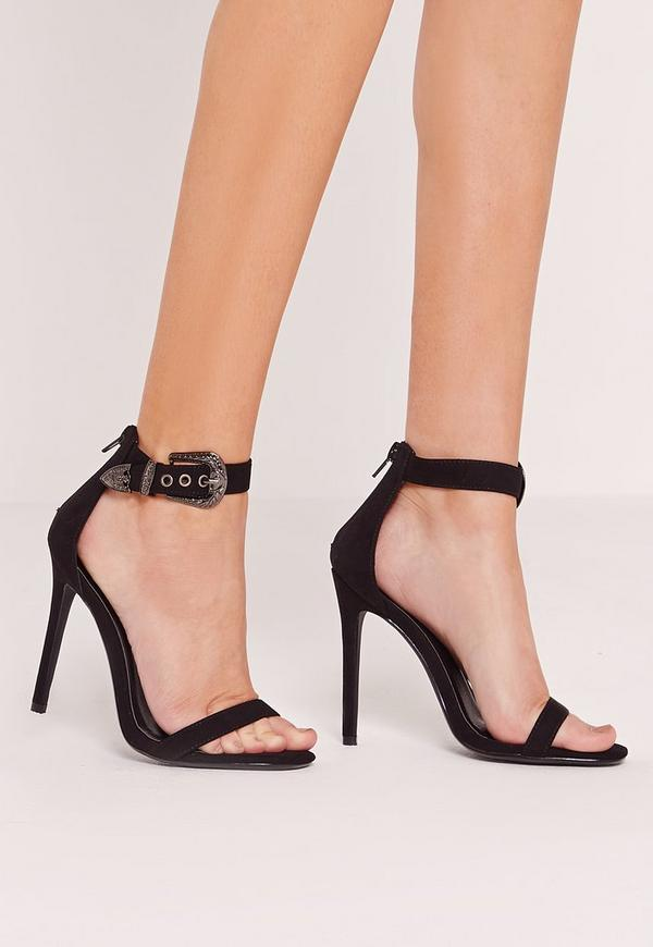 Western Trim Barely There Heels Black