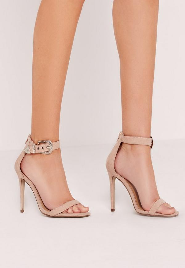 Western Trim Barely There Heels Nude