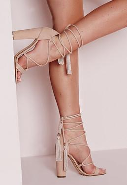 Lace Up Tassel Block Heel Sandals Nude