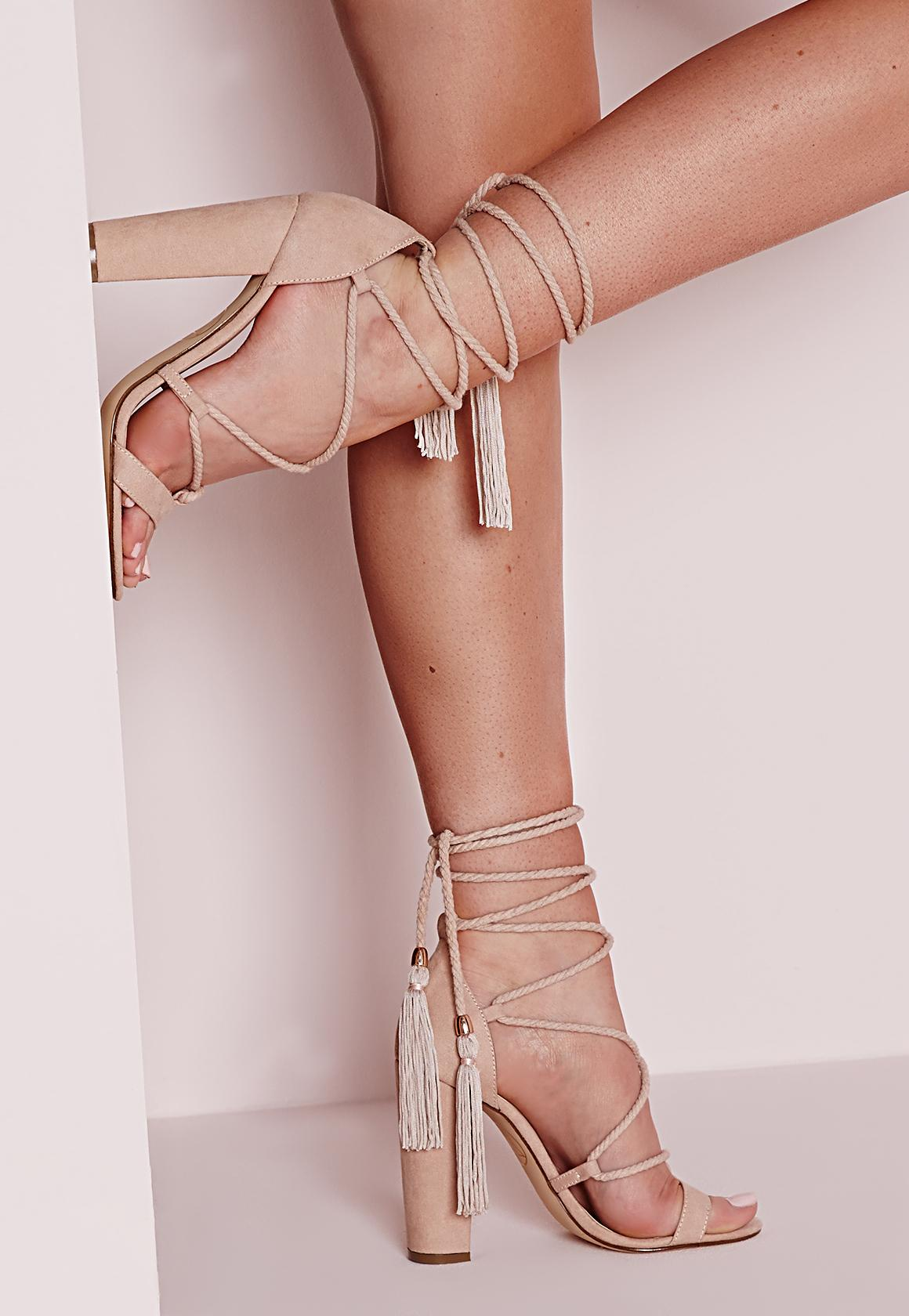Lace Up Tassel Block Heel Sandals Nude - Shoes - High Heels ...