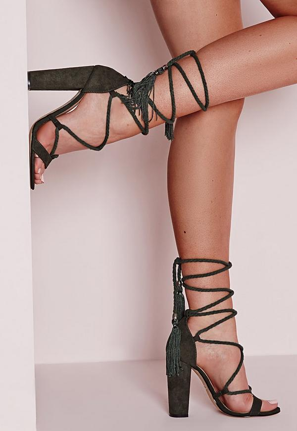 Lace Up Tassel Block Heel Sandals Khaki