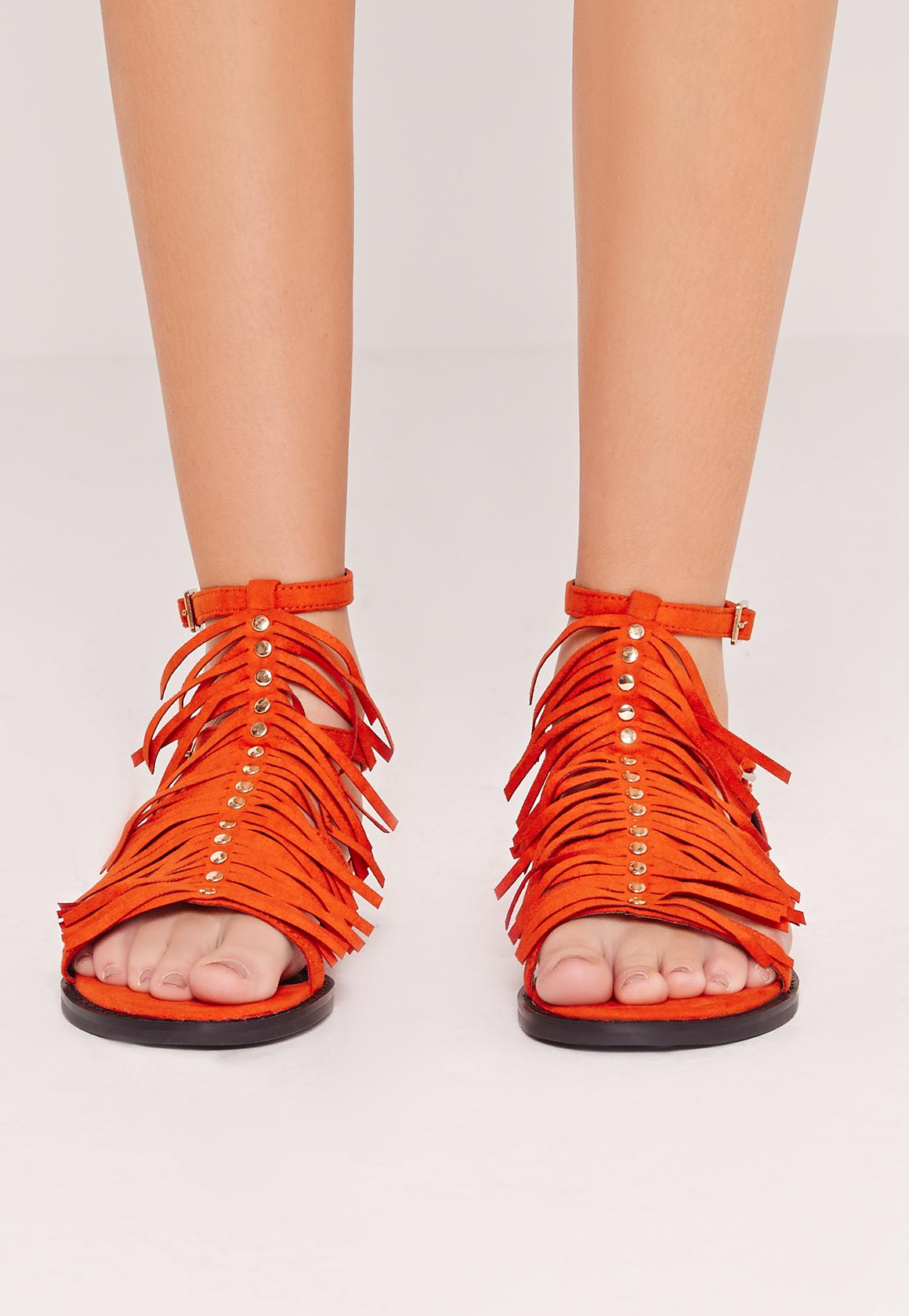 Tassel T Bar Flat Sandal Orange