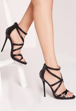 Sandales à talon noires à fines lanières