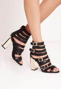 Gold Block Heel Strappy Sandals Black