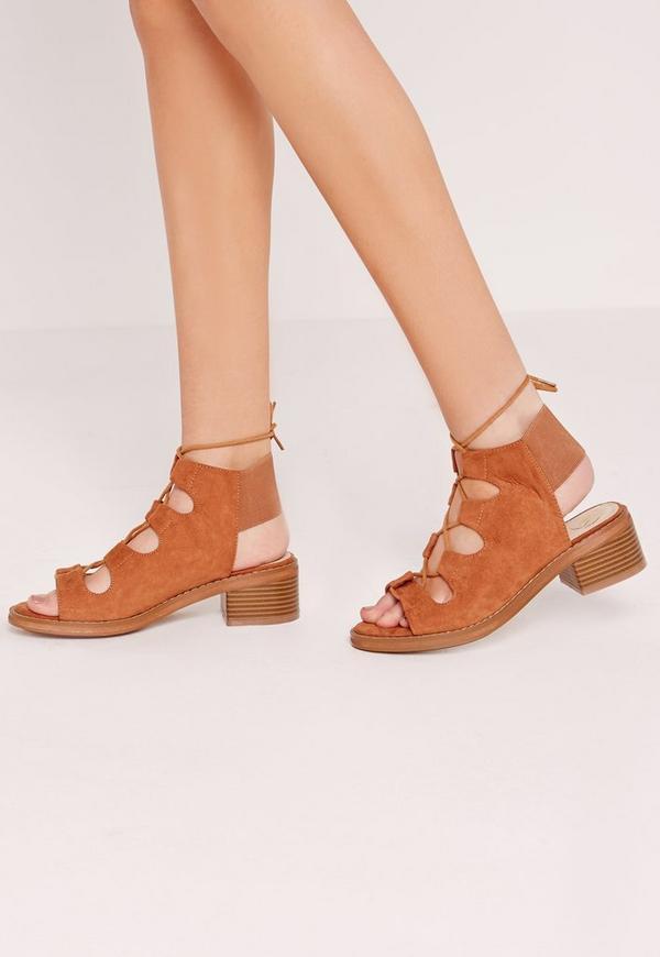 Elastic Back Block Heel Lace Up Sandal Tan