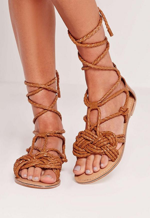 Real Leather Pleated Strap Lace Up Flat Sandals Tan