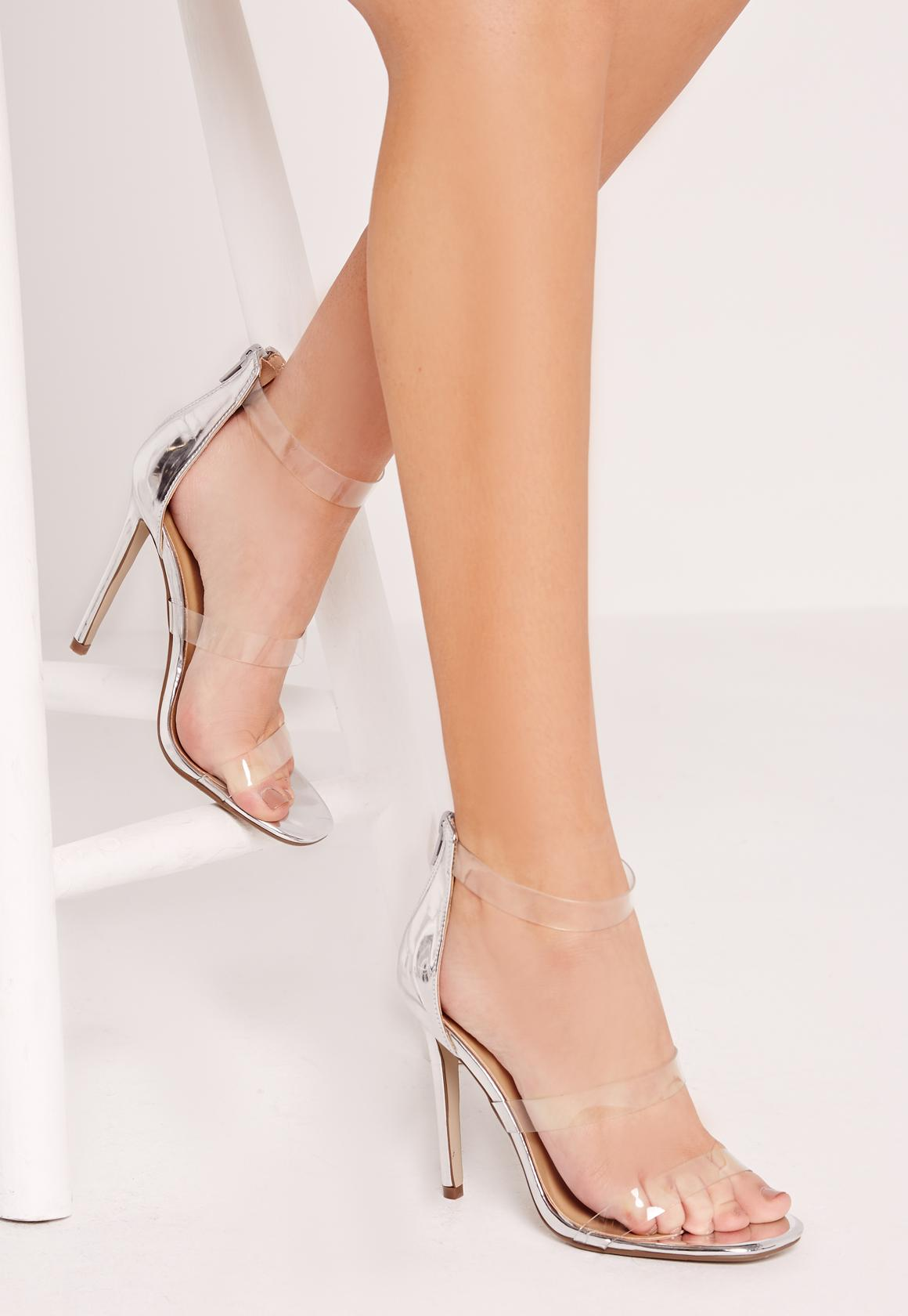 silver perspex 3 strap barely there heeled sandals | Missguided