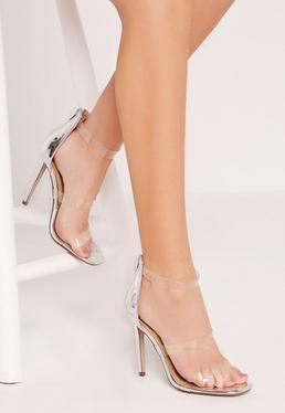 Silver Transparent 3 Strap Barely There Heeled Sandals