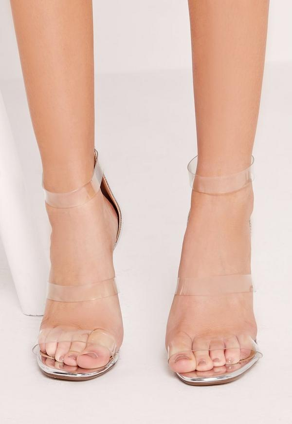 silver perspex 3 strap barely there heeled sandals ...