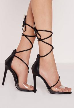 Perspex Toe Strap Lace Up Barely There Heels Black