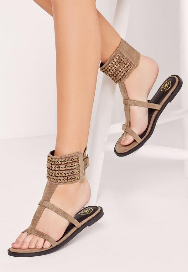 Woven Chain Ankle Cuff Flat Sandal Nude