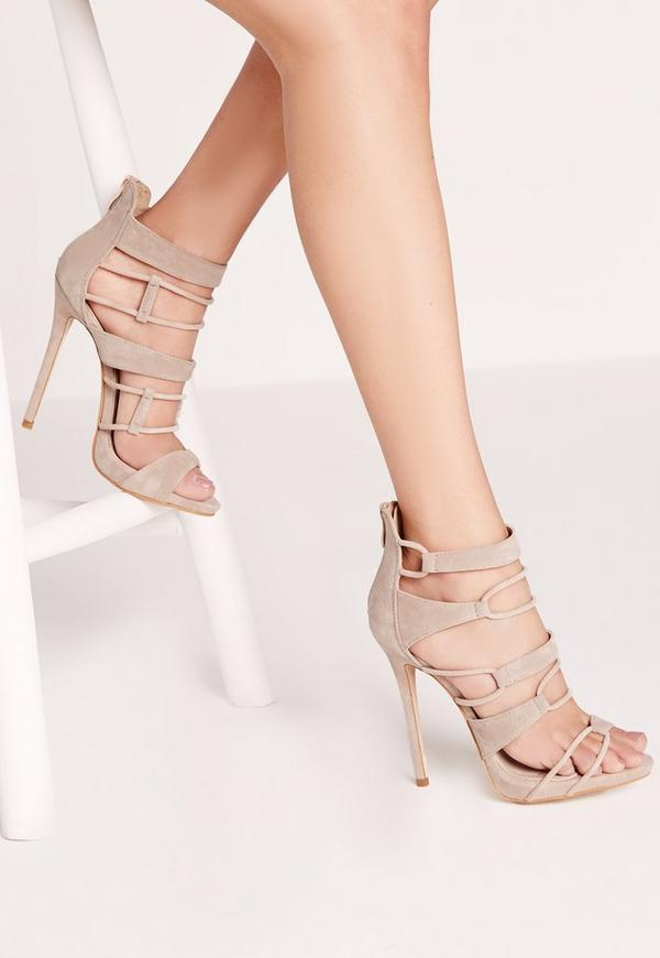Strap Detail Platform Barely Theres Nude