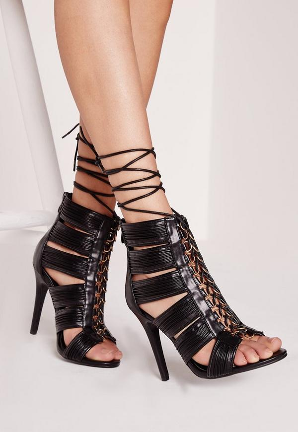 Cut Out Lace Up Heeled Gladiator Black