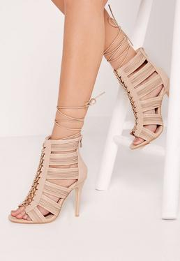 Cut Out Lace Up Heeled Gladiator Nude