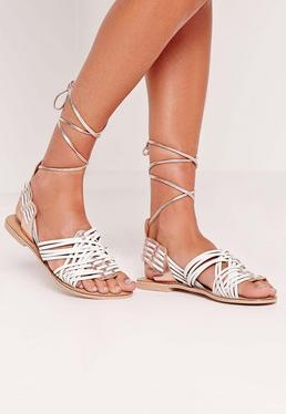 Real Leather Woven Slingback Flat Sandals White/Rose Gold