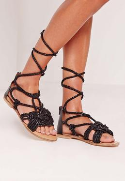 Real Leather Pleated Strap Lace Up Flat Sandals Black
