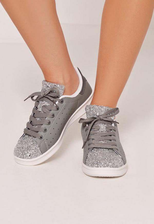 Glitter Toe Cap Tennis Trainer Grey