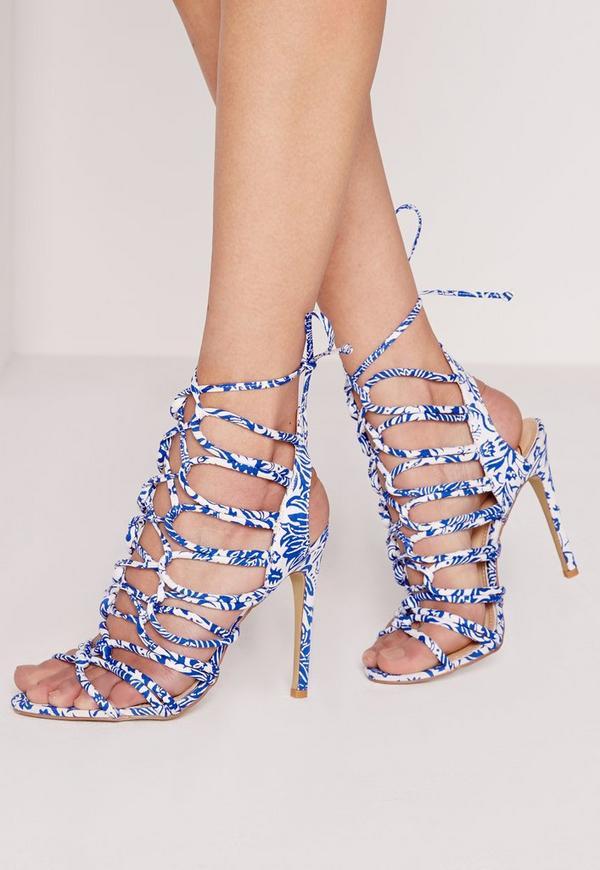 Porcelain Print Lace Up Gladiator Heels Blue