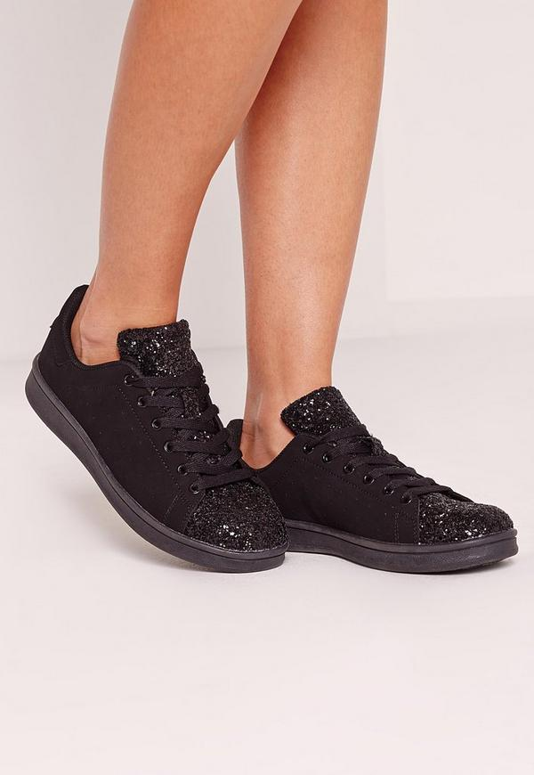 Glitter Toe Cap Tennis Trainers Black