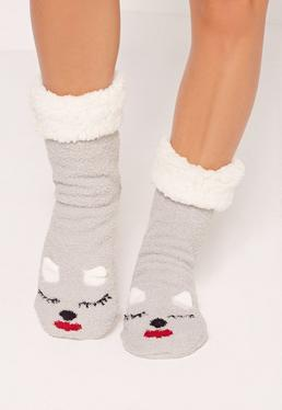 Sleepy Kitty Slipper Socks Grey