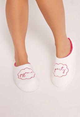 White Pajama Party Slippers