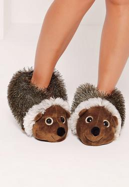 Hedgehog Slippers Brown