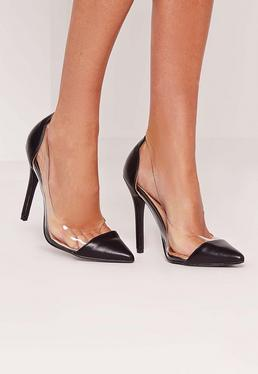 Black Transparent Insert Court Shoes