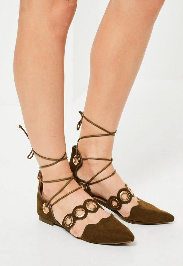 Khaki Eyelet Lace Up Flat Shoes
