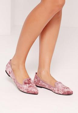 Velvet Slipper Loafers Pink