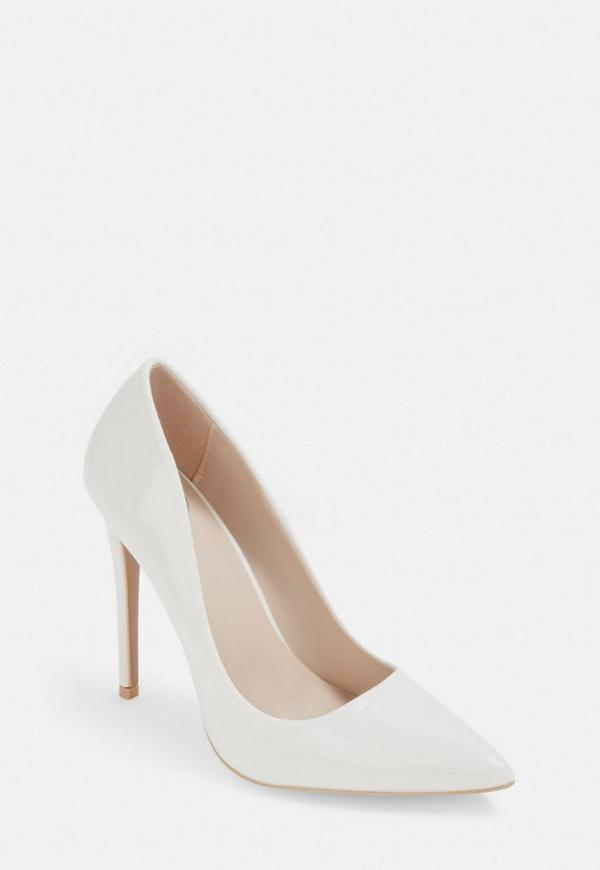 White Wide Fit Patent Court Shoes by Missguided
