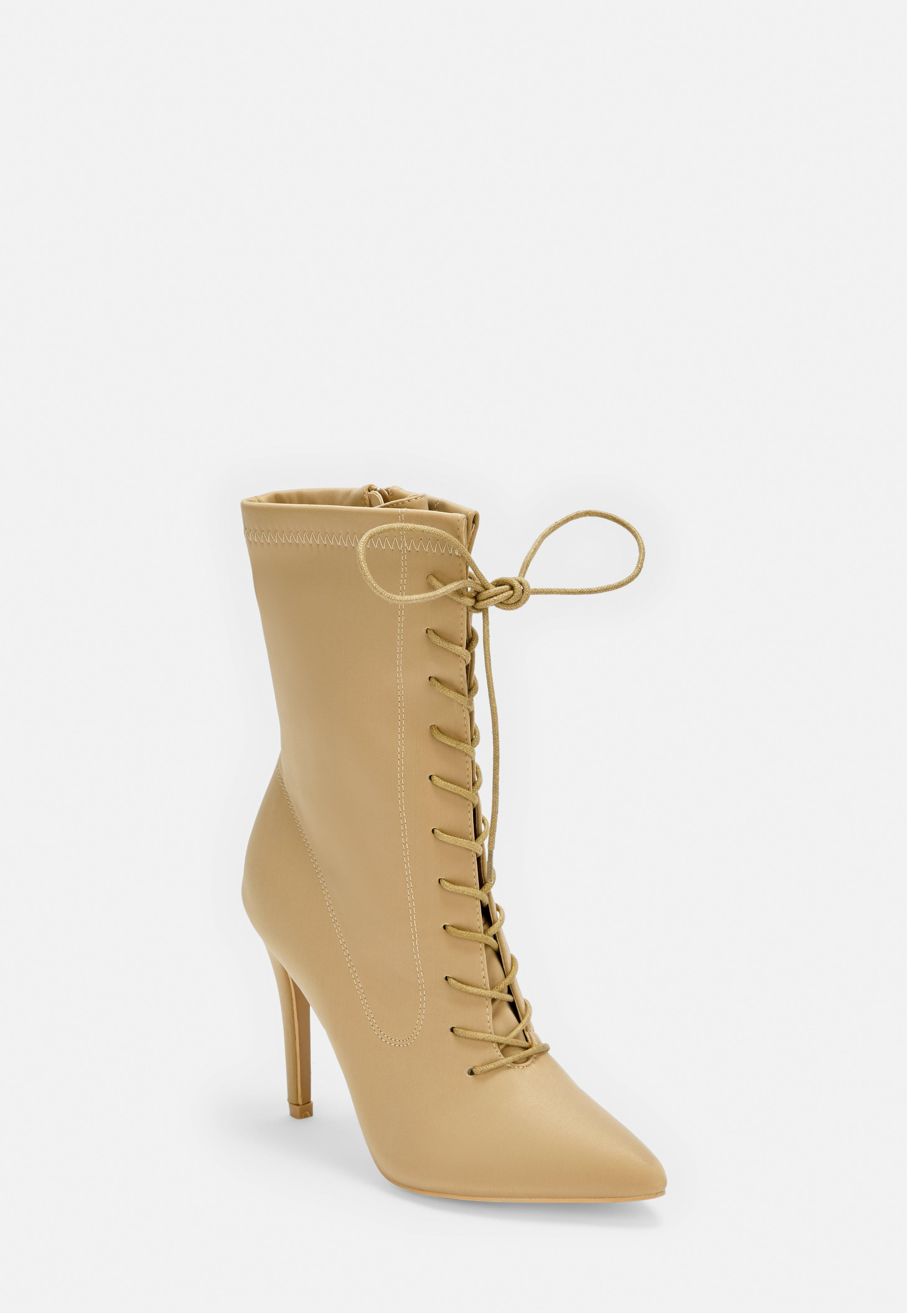 fccebf08c32 Nude Wide Fit Pointed Lace Up Heeled Ankle Sock Boots