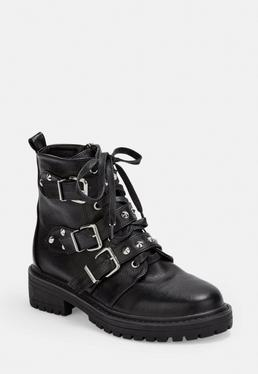 Black Wide Fit Triple Strap Studded Boots