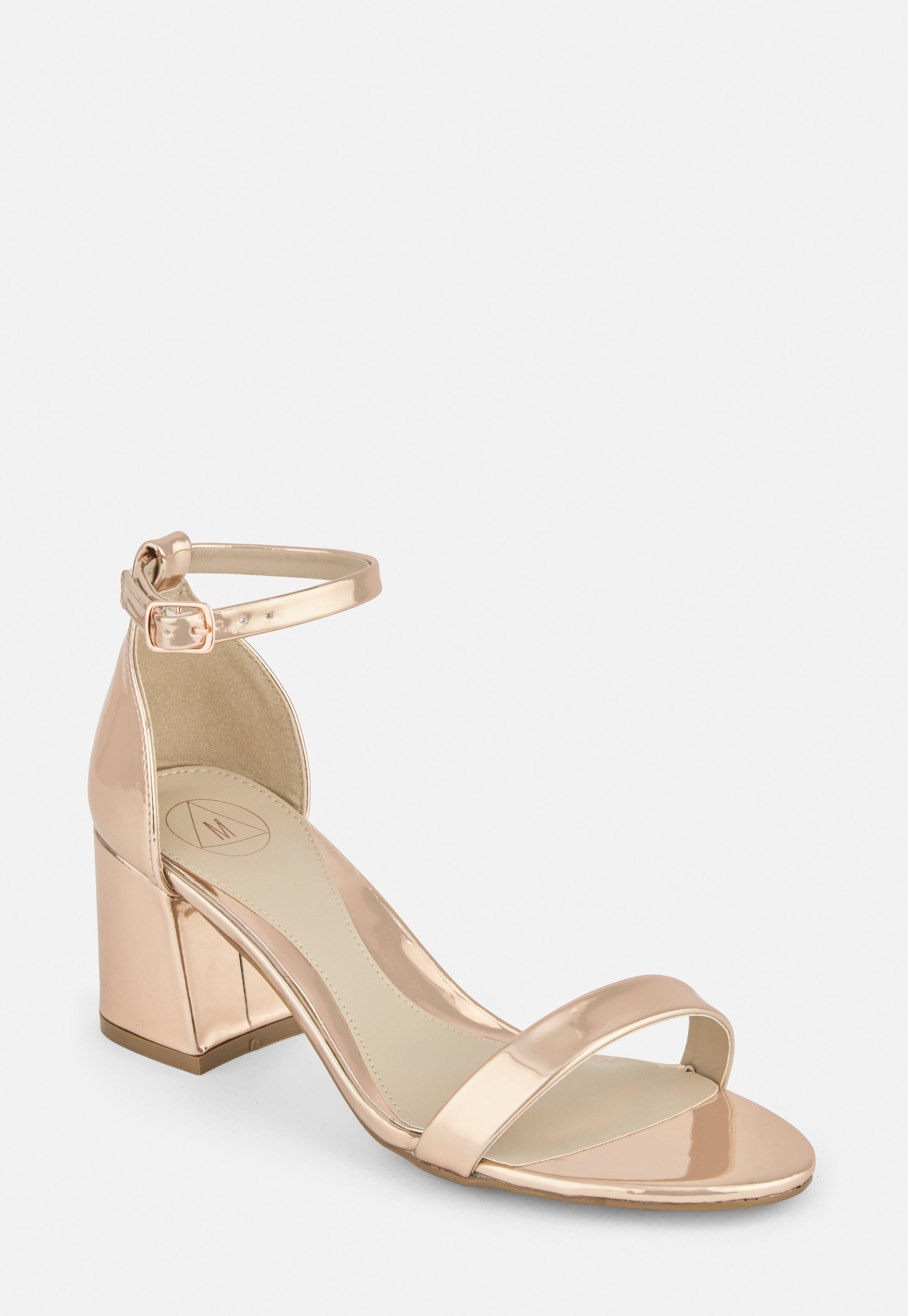 Rose Gold Wide Fit Mid Block Heel Barely There Heels