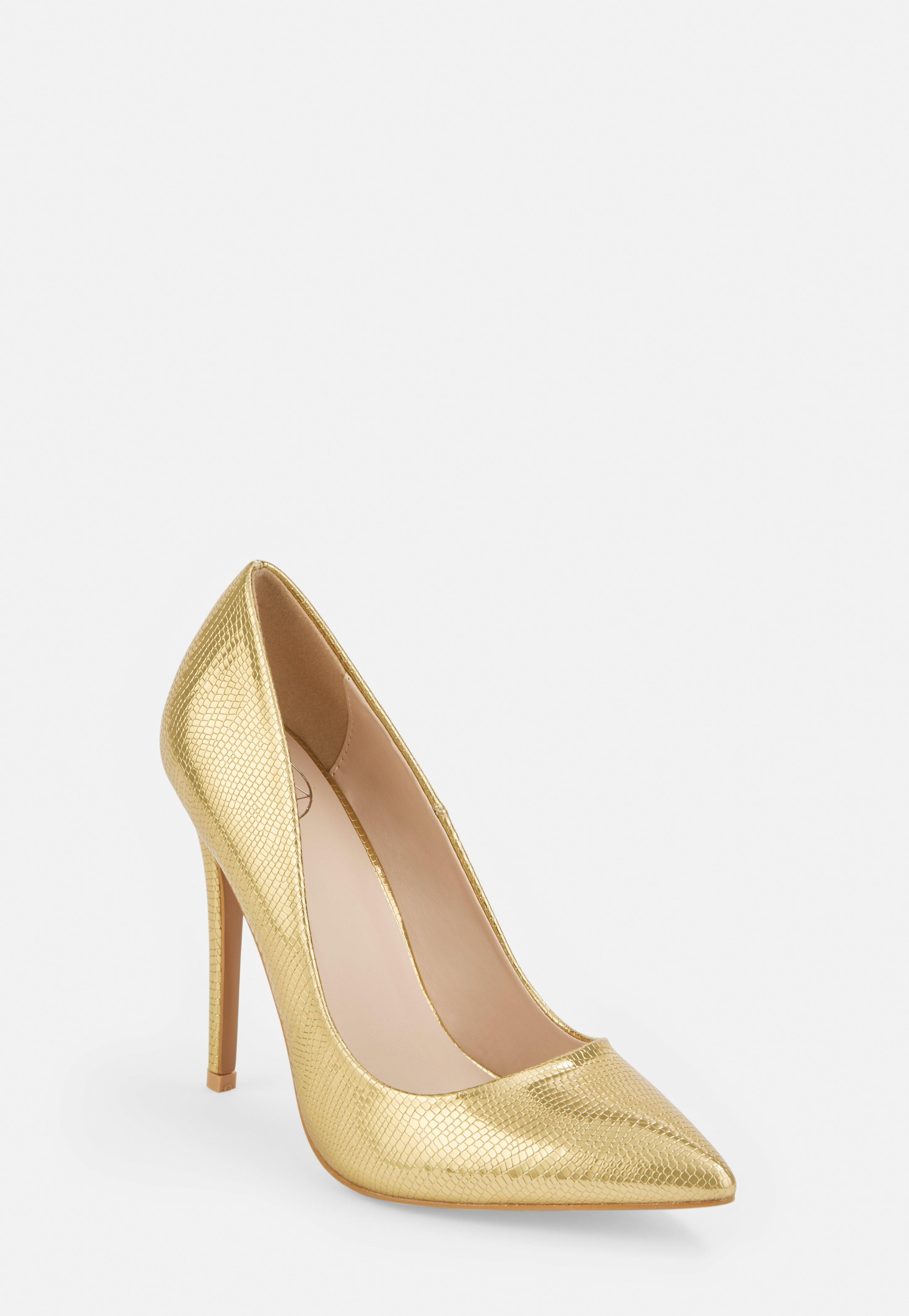 Gold Wide Fit Mock Croc Heeled Court Shoes
