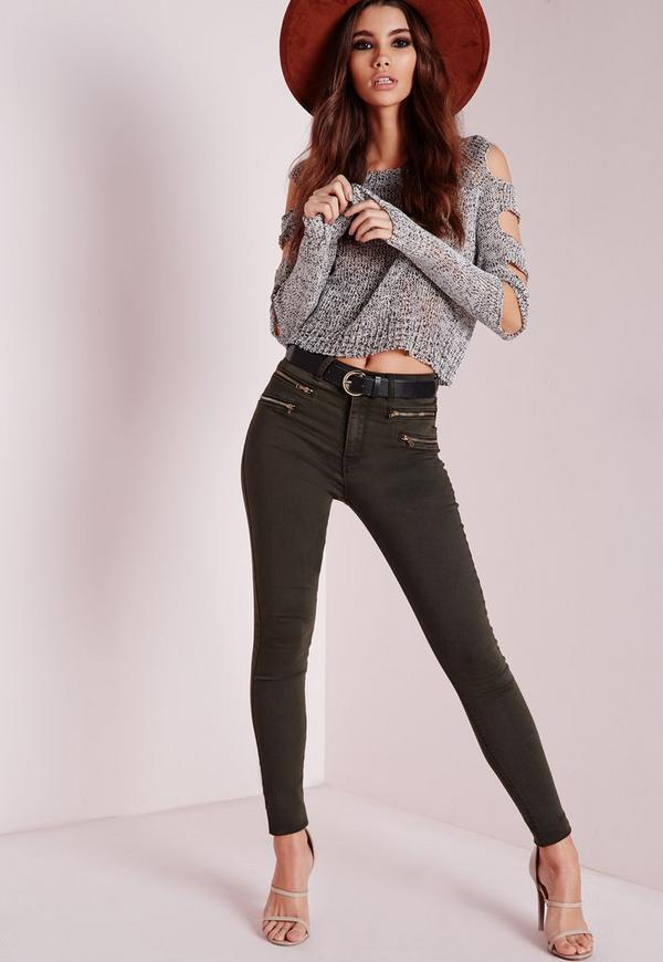 Hustler Mid Rise Zipped Skinny Jeans Khaki
