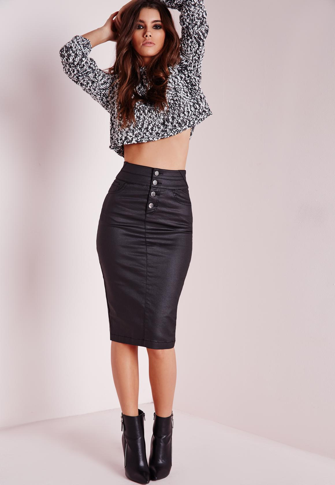 Sinner High Waisted Denim Skirt Black Coated | Missguided