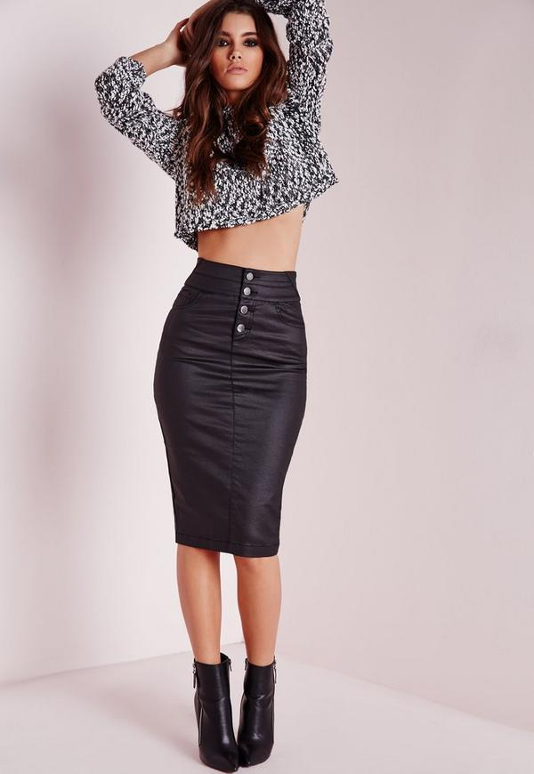 Sinner High Waisted Denim Skirt Black Coated
