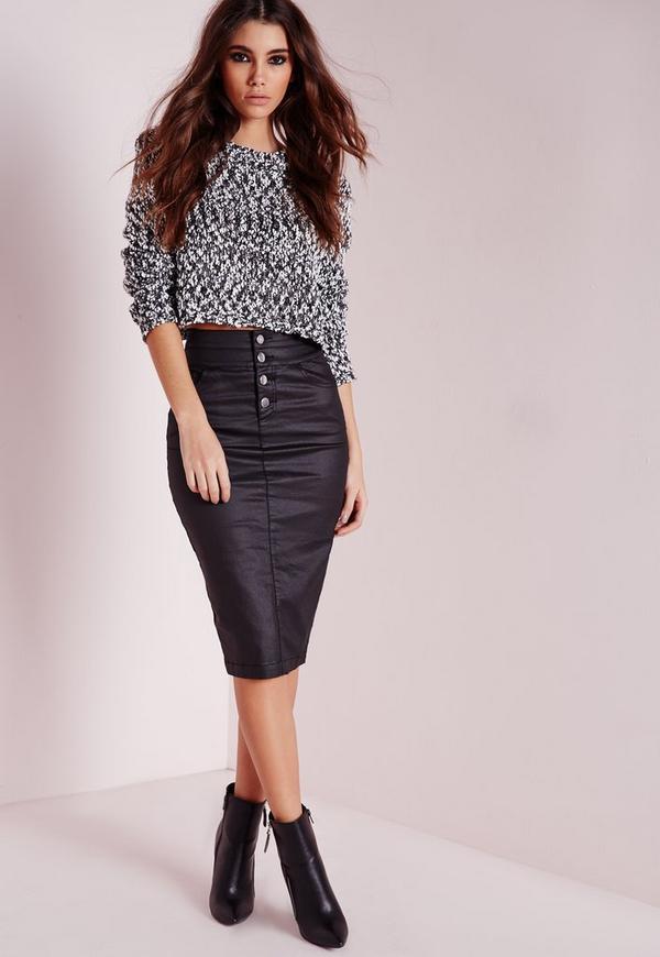 sinner high waisted denim skirt black coated missguided