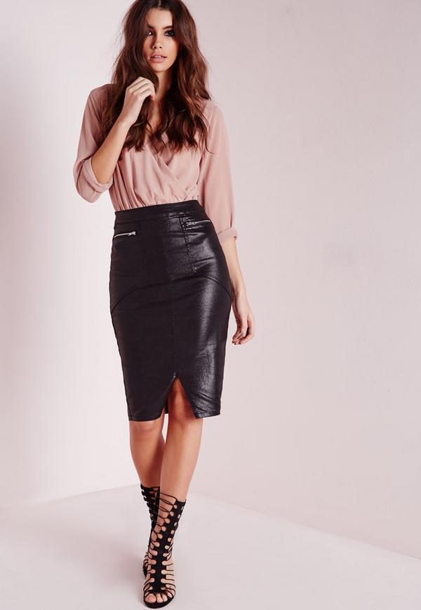 coated zipped denim biker skirt black