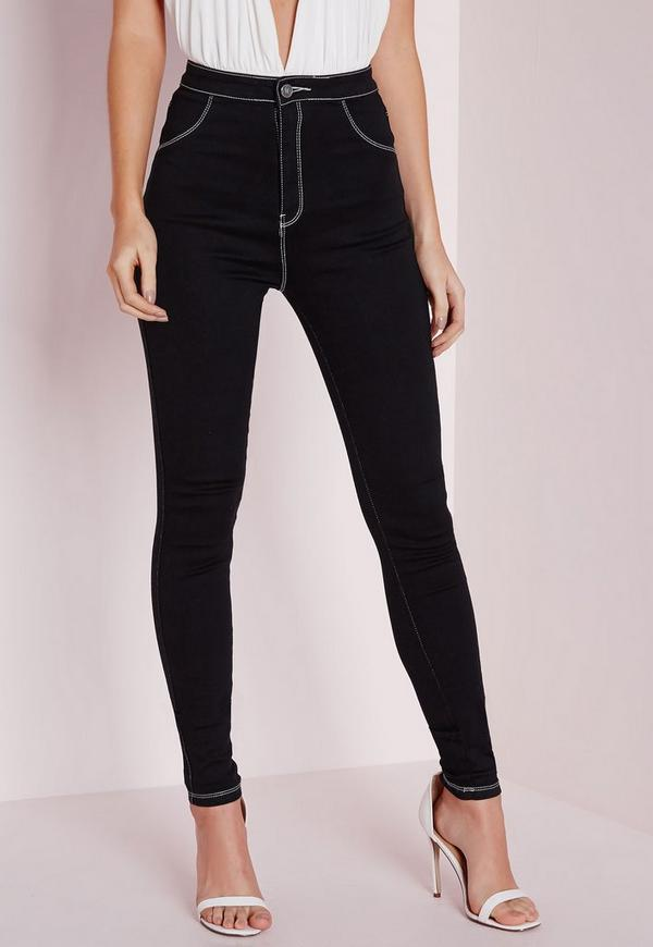 Vice Super Stretch High Waisted Contrast Stitch Skinny Jeans Black Missguided