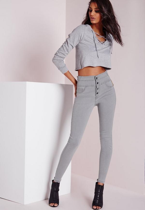Sinner High Waisted Skinny Jeans Light Grey