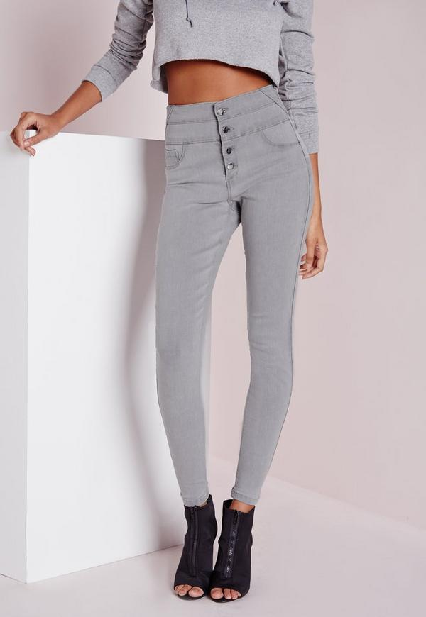 Sinner High Waisted Skinny Jeans Light Grey | Missguided