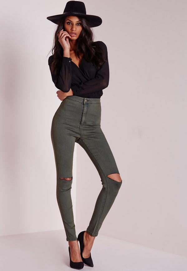 Vice Super Stretch High Waisted Ripped Knee Skinny Jeans Khaki