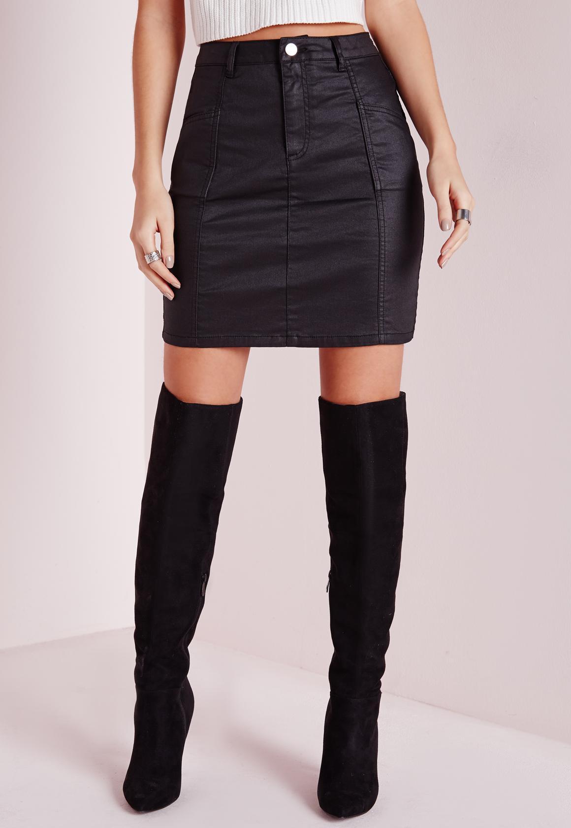 Coated Denim Mini Skirt Black. Previous Next