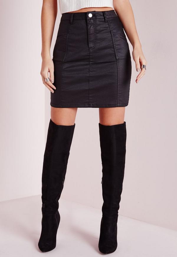 coated denim mini skirt black missguided