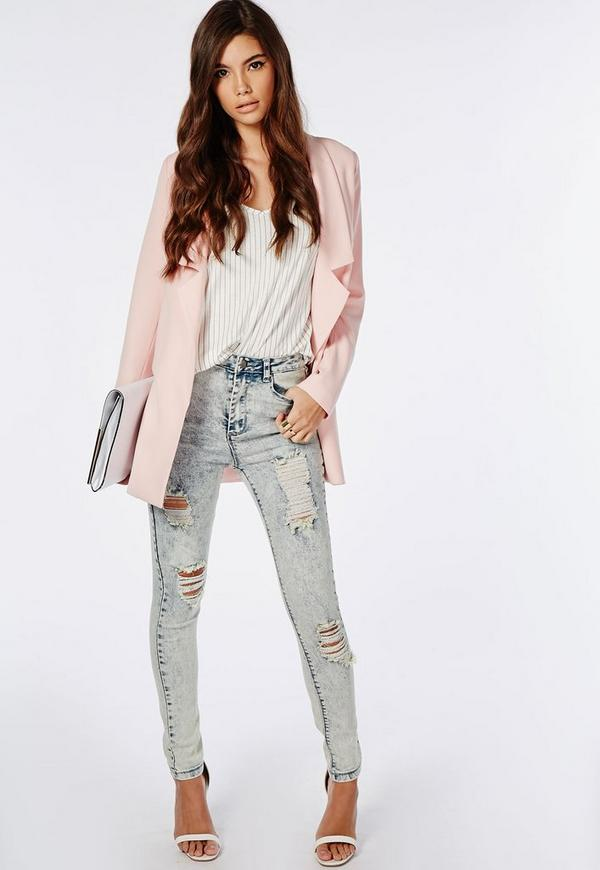 Edie High Waisted Multi Rip Skinny Jeans Blue Acid Wash