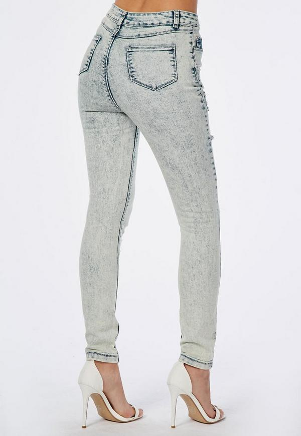 Edie High Waisted Multi Rip Skinny Jeans Blue Acid Wash | Missguided